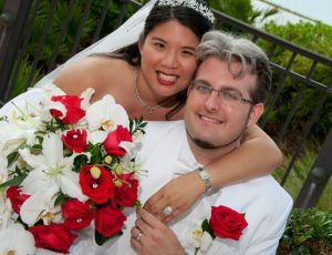 Ari Kathein and wife on wedding day